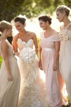 long neutral dresses - also beautiful bridesmaids gowns Mismatched Bridesmaid Dresses, Wedding Bridesmaid Dresses, Brides And Bridesmaids, Wedding Attire, Wedding Gowns, Bridal Gown, Bridesmaid Invitations, Grecian Wedding, Gold Wedding