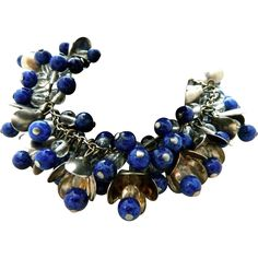 Miriam Haskell lapis lazuli beads 30' cha cha AMAZING bracelet from ovallegra on Ruby Lane