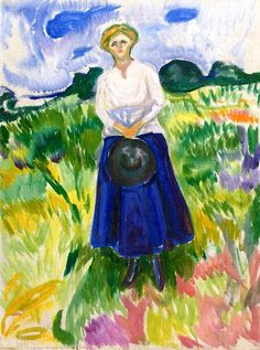 Woman in a Green Meadow Edvard Munch - 1917