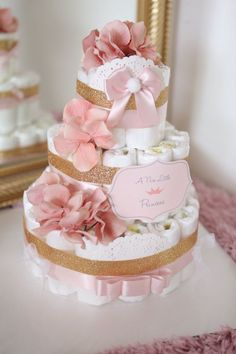 Pin this Child Woman Gold & Coral Pink Diaper Cake / Child Bathe Centerpiece / welcome child / flower Elegant princess / for present / tulle / ornament