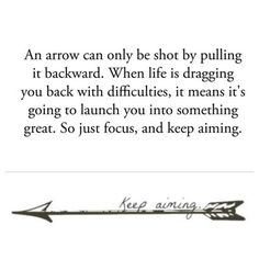 Keep Aiming Cool Arrow Tattoo Design