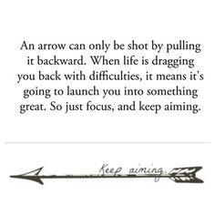 Keep Aiming Cool Arrow Tattoo Design