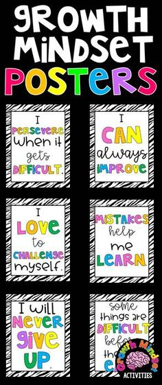 11 Growth Mindset Inspirational Posters for Grades 3-6 (Rainbow and Zebra Stripes)
