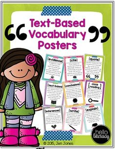 Text based Vocabulary Posters...help students understand the words so they can understand what we expect them to do.