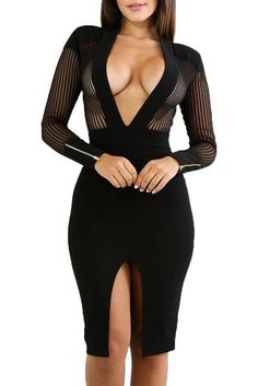 1543276918 Black Sheer Pinstripe Mesh Accent Deep V Neck Club Bodycon Dress
