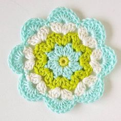 Crochet Diagonal Granny Square by Divonsir Borges WIP Sunday - What's on Your Hook? Week 2 Entry African Flower with 8 Petals (Square) by Nicole Hancock Free Pattern - Salvabrani Just Be Crafts: Learn To Crochet Square African Flower Work in progress, Ana Mandala Au Crochet, Crochet Puff Flower, Crochet Motifs, Crochet Flower Patterns, Crochet Squares, Love Crochet, Crochet Designs, Crochet Doilies, Crochet Flowers