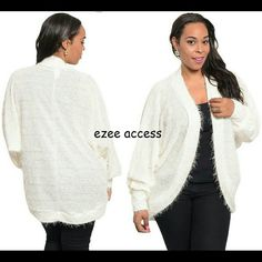 Plus size cocoon sweater cardigan Ivory new *Retails new without tags. Plus size cocoon sweater cardigan Ivory Open front. loose dolman sleeves knit sweater with built in sequin in fabric. Fabric Content : 100 % polyester.  Soft feel. Eyelash fabric    *PRICE IS FIRM UNLESS BUNDLED Boutique  Sweaters Cardigans