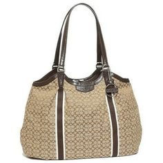 Coach Signature Stripe Tote Shoulder Bag $200