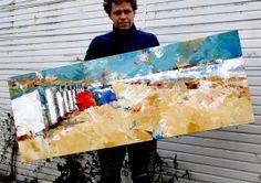 Dorus Brekelmans and his painting 'La Plage 2' acrylic on canvas 2014