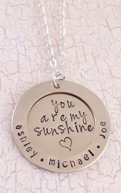"""Gift for Mom:  """"You Are My Sunshine"""" Personalized Hand-Stamped Nickel Silver Mom Necklace by Kansas City Kreations @ Etsy"""