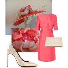 Coral Watermelon Beige Taupe Kentucky Derby Hat 2014 with Large Coral Hat