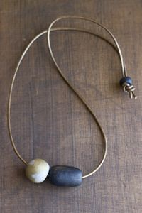 kate miss necklace Leather Necklace, Leather Jewelry, Stone Necklace, Clay Jewelry, Jewelry Necklaces, Jewellery, Kate Miss, Homemade Necklaces, Baubles And Beads
