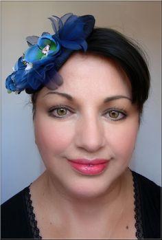 Bibi/Chapeau Lin - bleu/noir - Chic-Rétro - Dentelle, fleur et perles-mariage, cérémonie... : Chapeau, bonnet par el-tocado-de-lea