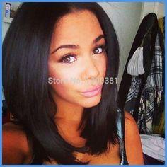 Free Shipping Virgin Peruvian Silky Straight Short Humn Hair Bob U part Wig, Full Lace