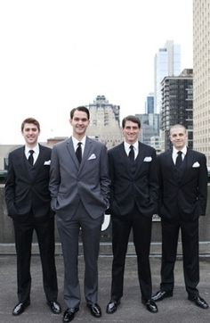 Dapper gentlemen in grey and black tuxs for this Seattle Wedding #suits #grey #black #groomsmen  Photo by: Kate Price Photography on Grey Likes Weddings