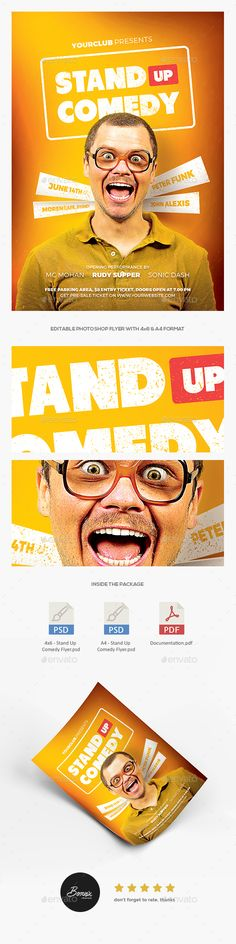 Stand Up Comedy #Flyer - Events #Flyers Download here: https://graphicriver.net/item/stand-up-comedy-flyer/20194095?ref=alena994