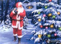Weihnachtsmann, Weihnachtsbaum, Schnee
