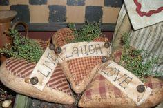 3 Primitive Valentine Live Laugh Love Hearts Bowl Fillers Ornies   eBay
