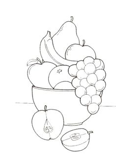 Super Fruit Basket Drawing For Kids Ideas Vegetable Coloring Pages, Coloring Book Pages, Coloring Pages For Kids, Art Drawings For Kids, Drawing For Kids, Fruit Basket Drawing, Vegetable Crafts, Vegetable Pictures, Fruits Drawing