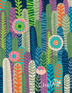Cacti in bloom vibrant illustration by Chulbird on Etsy
