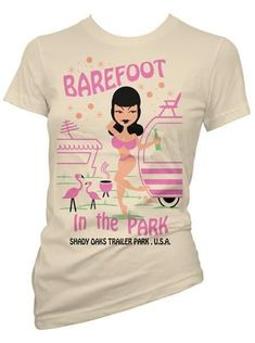 "Women's ""Barefoot In The Park"" Tee by Pinky Star (Tan)"