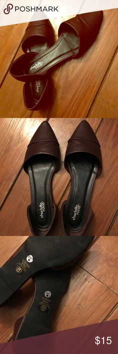 Charlotte Russe burgundy vegan leather flats Beautiful flats in new condition. Tried on never worn. Deep wine burgundy color. Charlotte Russe Shoes Flats & Loafers