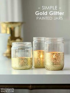 Simple gold glitter painted jars