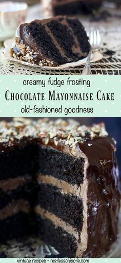 Homemade Chocolate Mayonnaise Cake recipe. This is absolutely the best chocolate cake recipe ever! Ultra creamy frosting and filling and a fudgy moist cake- If you love chocolate cake you have to try this! From RestlessChipotle.com via @Marye at Restless