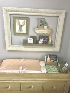 Above Changing Table Baby Nursery Green Pink And Gray Succulents