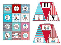 Scrap N Teach: Dr. Seuss Happy Birthday Banner and Cupcake toppers