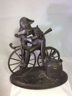 FRENCH-SOLDIER-RIDES-TO-BATTLE-ON-BONESHAKER-BICYCLE-1870-Antique-Ink-Well