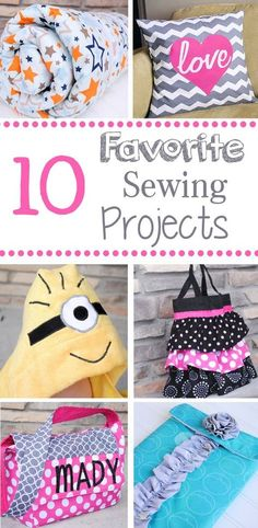 10 Fun and Easy Sewing Projects that you can do! How cute is that personalized tote bag!