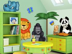 Having a boy and a girl, their playroom has to be non gender specific. Animals seem to be a safe theme.... I would prob buy foam board and paint it instead of committing these onto the wall.