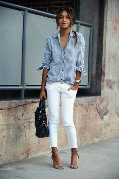 White denim, spring outfit ideas, striped shirt, boyfriend shirt, casual style, blogger style, easy outfit ideas, spiffy casual outfit, white jeans, button down shirt