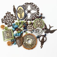 Vintaj with handmade porcelain beads and pendants from Clay River Designs {Find designs inspired by our Celtic Stone theme in the Vintaj Idea Gallery!} #beads #jewelrymaking
