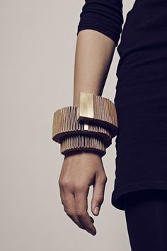 Sculptural Bangle made with steel & folded leather strips; contemporary jewellery design // Birte Soellner