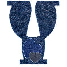 Alfabeto vaquero de corazones.Y mayuscula