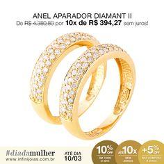 Anel Aparador Diamante com Ouro - De: R$ 4.380,80 Por: R$ 3.942,72 ou 10x de R$ 394,27 sem juros #diadamulher #diadasmulheres