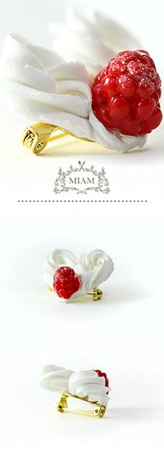 Broche coeur chantilly framboise. MIAM PARIS.