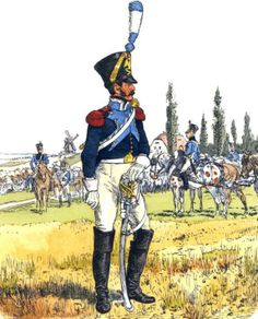 France-trumpeter battalion 9 (bis) artillery trains in uniform near 1810 Trains called at that time tabory. Shared on military, artillery and engineers. Fig. R. Knotel.