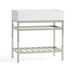 "Mason Apothecary Single Sink Console, Polished Nickel Overall: 31"" wide x 17.75"" deep x 33"" high"