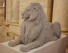 "Lego Art ~ Nathan Sawaya, ""Lego Lion - The New York Public Library"" Lego Sculptures, Sculpture Art, Brick Art, Lion Art, Cool Lego, Gremlins, Childhood Toys, Legoland, Lego Brick"