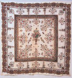 "Counterpane (bed cover). Owned by Frances Wardale Lieber McAllister. Printed by John Hewson, Philadelphia, Pennsylvania; 1780–1810. Cotton. Length: 106 ¼"" (269.9 cm); Width: 103 ¼"" (262.3 cm). <em>1963.48</em>"