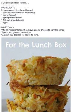 Chicken and Rice Patties Lunch Box Recipes, Lunch Snacks, Savory Snacks, Baby Food Recipes, Healthy Snacks, Chicken Recipes, Cooking Recipes, Lunchbox Ideas, Yummy Recipes