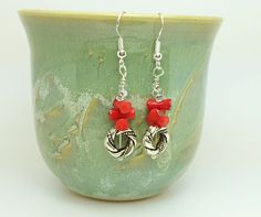 Red and silver coral earrings