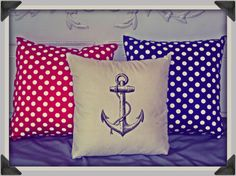 Screenprinted Anchor Cushion Nautical handmade por blacklightad