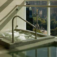 The spa whirlpool looks down on Paseo de la Reforma, St. Regis Mexico City