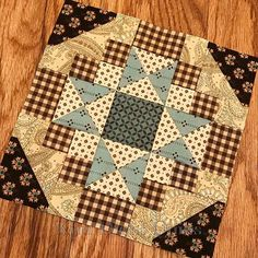 While looking at my upcoming Fiddlesticks and Fancies collection, I was overcome with a burning urge to make a mini. There...all better now. #KimDiehlQuilts #FiddlesticksAndFanciesMiniQuilt #MinglingAquaCreamAndBrown #HenryGlassFabrics