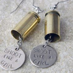 Items similar to Shoot like a Girl Bullet Earrings on Etsy Ammo Jewelry, Wire Jewelry, Jewelry Crafts, Jewlery, Coin Jewelry, Jewelry Necklaces, Bullet Shell Jewelry, Bullet Casing Jewelry, Bullet Casing Crafts