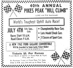 1962 ad Pikes Peak Hill Climb race, notice give away convertible. Car still survives !